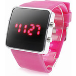 LightInTheBox Unisex Silicone Style Sports Red LED Wrist Watch (Pink)