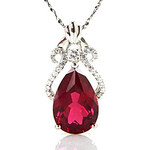 LightInTheBox Girls' Lab Created Pigeon Blood Ruby 925 Sterling Silver Pendent Necklace