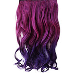 LightInTheBox 16 Inch Clip in Synthetic Purple Gradient Wavy Hair Extensions with 5 Clips