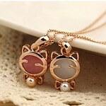 LightInTheBox JG Cute Cat Shape Opal Necklace