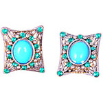 LightInTheBox European and American fashion jewelry shiny green diamond sapphire stud earrings E854