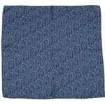 Tmavě modrý hedvábný šátek se stříbrným geometrickým vzorem, A Piece of Chic