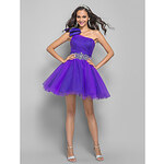 LightInTheBox A-line Princess One Shoulder Short/Mini Tulle Cocktail Dress With Bow(631257)