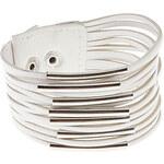 LightInTheBox Multilayer Leather Metal Ring Wide Bracelet(White)
