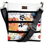Dara bags Pařížská černobílá crossbody kabelka Dariana Middle I love Paris