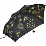 Blooming Brollies Dámský skládací mechanický deštník Yellow Hearts EDFHY