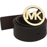 Michael Kors Dámský kožený opasek Round Logo Belt - hnědá/zlatá 553246c-2 L