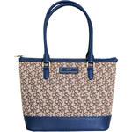 DKNY Elegantní kabelka Vintage Logo Plug Satchel - hnědá/modrá 743316008-1