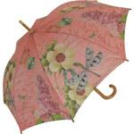 Blooming Brollies Dámský holový vystřelovací deštník Coynes Pink Dragonfly COSDFLY