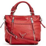Guess Elegantní business kabelka Presley Zipper Satchel červená