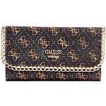 Guess Elegantní peněženka Confidential Logo Chain Slim Clutch hnědá