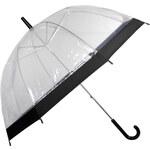 Blooming Brollies Dámský průhledný holový deštník Clear Dome Black EDSCDBLA