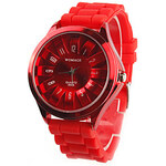 LightInTheBox Chrysanthemum Shaped Metal Dial Design Quartz Unisex Wrist Watch - Red
