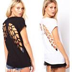 Lesara T-Shirt mit Cut-Outs - Schwarz - S