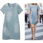 Lesara Jeanskleid mit Perlen-Applikationen - Blau - XS