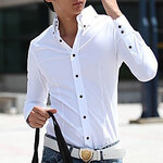 LightInTheBox Summer Man Casual Solid White Long Sleeve Shirt