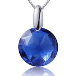 LightInTheBox BESO Women's Blue 925 Silver Round Cystal Pendent D0265BL-L(16MM)