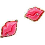 LightInTheBox Fashionable Acrylic Zircon Sexy Lips Pattern Earrings(Red)