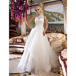 LightInTheBox A-line Princess Queen Anne Court Train Organza And Lace Wedding Dress (632799)