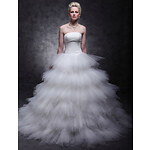 LightInTheBox Tulle Over Satin Ball Gown Sweep/Brush Train Tiered Wedding Dress inspired by Mandy Moore in License to Wed