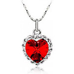LightInTheBox Classic Austrian Crystal Heart Pattern Necklace (Red)