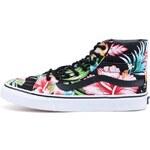 Černé dámské kotníkové tenisky s barevnými květinami Vans SK8-HI Slim