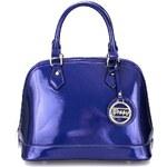 LYDC Modrá lakovaná kabelka s metalickým odleskem Gessy