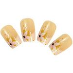 LightInTheBox 24PCS Transparent Gold Flower Full Cover Nail Tips