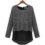 LightInTheBox Women'S Fall Long Sleeve Casual Loose Chiffon and Cotton Spliced Plus Size Knitwear Shirt