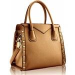 Světle-hnědá kabelka s cvoky LS Fashion LS00165 hnědá