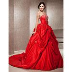 LightInTheBox Ball Gown Strapless Sleeveless Taffeta Chapel Train Red Wedding Dress