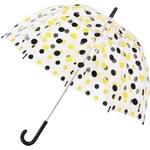 Průhledný deštník s černo-žlutými puntíky Lindy Lou Hannah