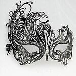 LightInTheBox Punk Style Black Metal Hollow Carnival Masquerade Mask with Gemstone