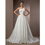 LightInTheBox A-line/Princess One Shoulder Court Train Taffeta Wedding Dress