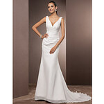 LightInTheBox Trumpet/Mermaid V-neck Court Train Chiffon Wedding Dress