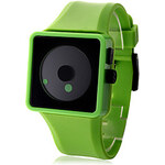 LightInTheBox Unisex Creative Two-Dot Dial Green Silicone Band Wrist Watch