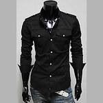 LightInTheBox Men's Stand Collar Slim Long Sleeve Shirt