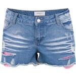 Světle modré džínové kraťasy s růžovou krajkou Vero Moda Paula