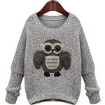 LightInTheBox Women's Wide Neck Owl Loose Sweater