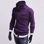 LightInTheBox Men's Diagonal Zipper Stand Collar Fleece Jacket(Zipper Random)