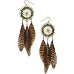 Topshop Disc and Feather Earrings