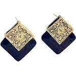 LightInTheBox Japan and South Korea new jewelry wholesale vintage earrings square box section black gem earrings E99