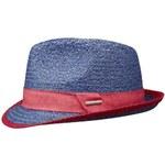 Stetson Moline - modrý panama klobouk s červenou stuhou