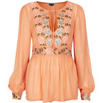 Topshop Floral Embroidery Blouse