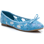 SUPER MODE Lehké modré krajkové dámské baleríny - 482BL / S3-97P