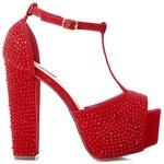 SERGIO TODZI Výstřední červené sandály s kamínky, vel. 38