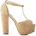 SERGIO TODZI Výstřední béžové sandály s kamínky, vel. 38
