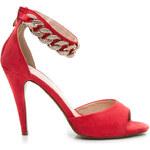 BELLE WOMEN Červené dámské sandálky s řetězem, vel. 41