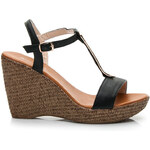 RandBE Černé dámské sandály na klínu, vel. 39