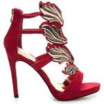 SEASTAR Oslnivé dámské červené sandálky, vel. 40